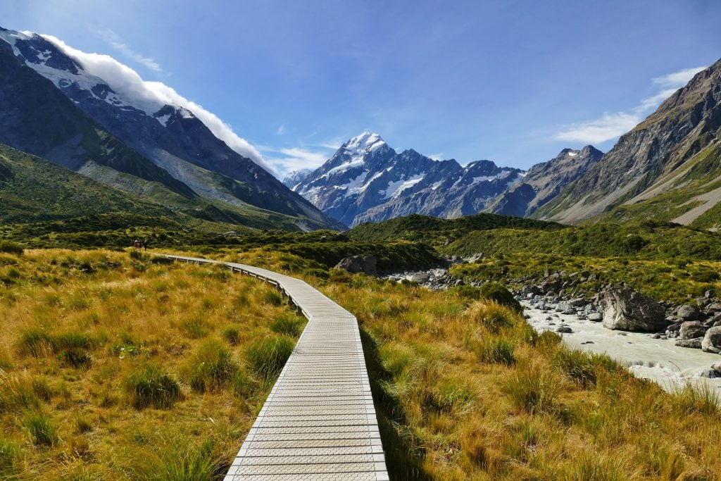 Hooker Valley Track in Mount Cook National Park, New Zealand is one of the best places to elope in the world.