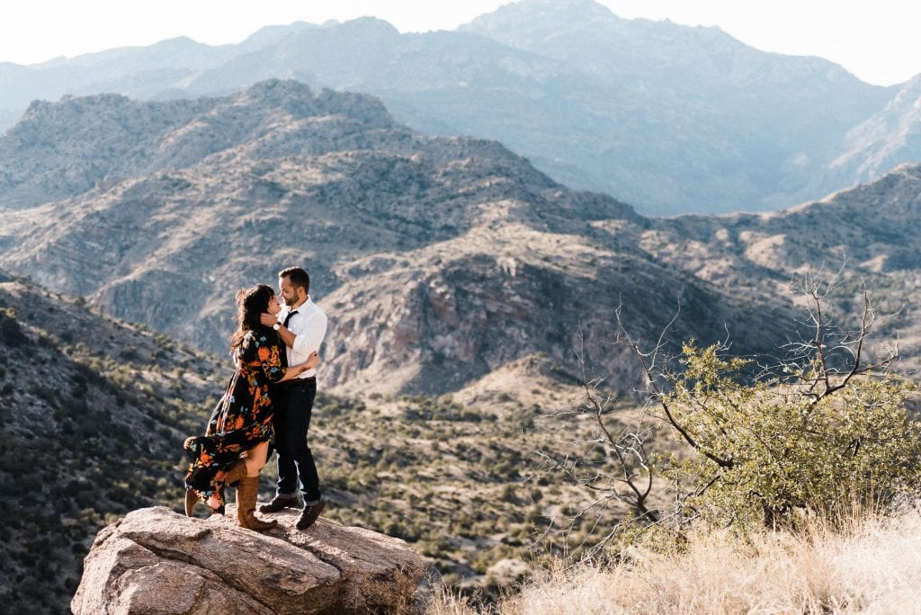 Couple eloping at a lookout on Mount Lemmon in Arizona.