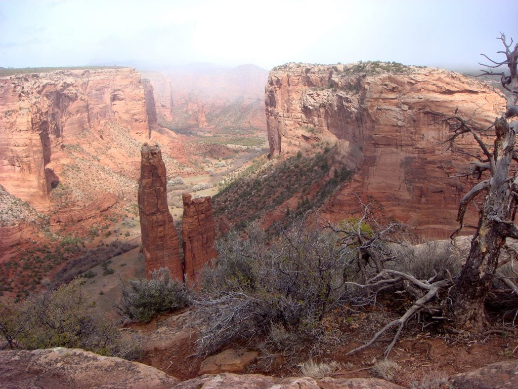 Spider Rock rising from the floor of Canyon de Chelly in Arizona.