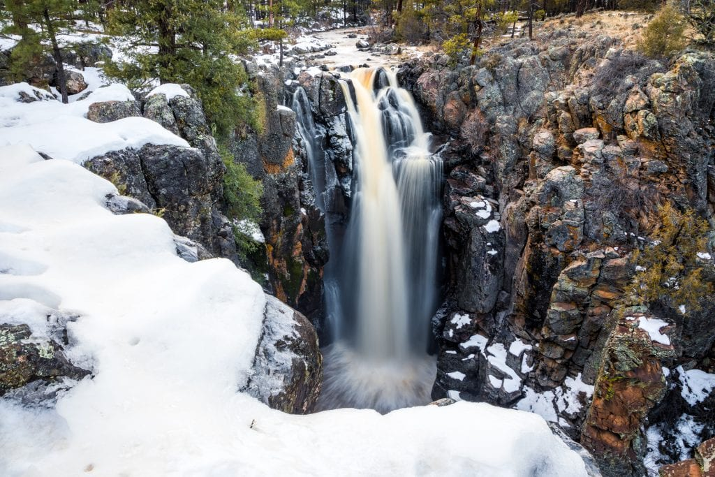 Sycamore Falls with snow cover in the winter time.