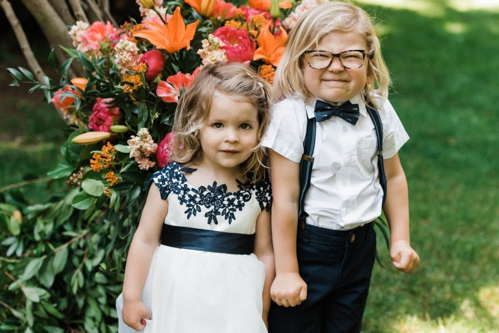 Flower children at an outdoor family-friendly elopement.