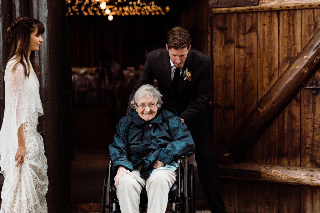 You can elope without offending family. This couple had an intimate celebration that grandma attended following their actual elopement.