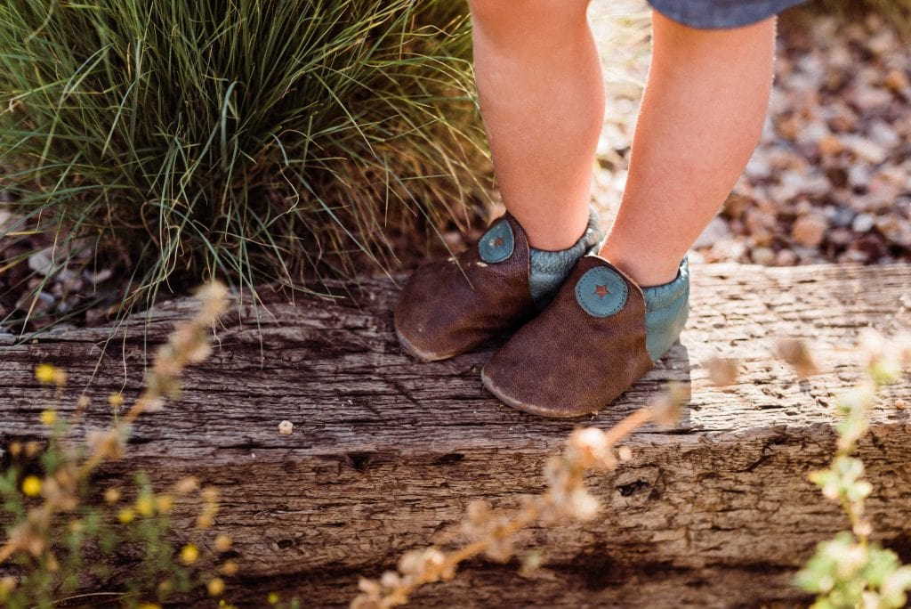 softstar moccasins for toddlers during hiking elopements with kids