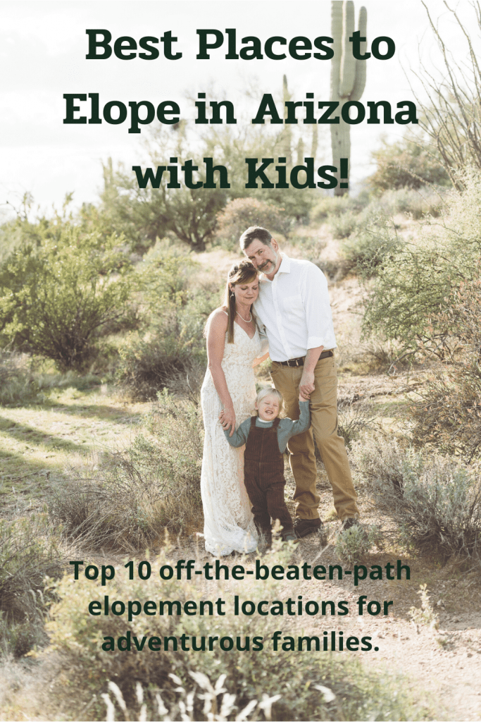 A family eloping in Lost Dutchman State Park, one of the top 10 elopement locations in Arizona for adventurous families.