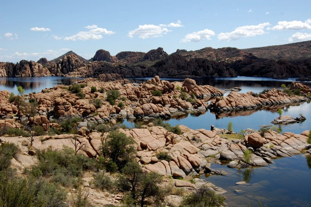 Watson Lake and Granite Dells near Prescott, Arizona on a clear day.