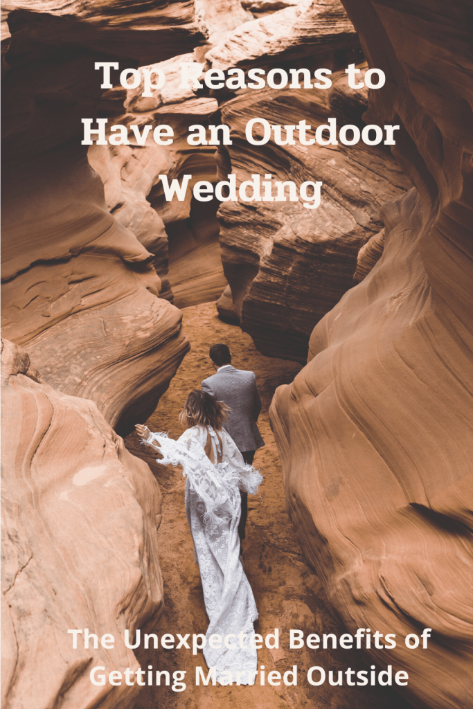 Wedding couple running through a slot canyon in Arizona during their outdoor wedding.